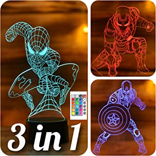 3 in 1-3D Night Lights for Kids 7 Colors-3D LED Illusion Lamp with Remote Control-Bedroom Table Lamp-Spiderman-Captain Ame...