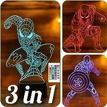 SERKYHOME 3D Illusion Lamp for Kids(Avengers 3in1)