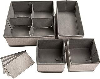Set of 4 Organizer Bins with Dividers for Closet Dresser Drawer Inserts Bathroom Dorm or Baby Nursery; Store Socks Underwear Clothes; Clothing Organization; Organizador de Closet; (Set of 4, Gray)