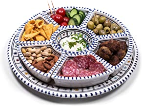Kamsah 8 Piece Round Dippers Plate Set & Serving Platter, Custom Hand-Painted Ceramic Serving Dishes and Trays for Celebra...