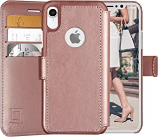 LUPA iPhone XR Wallet case, Durable and Slim, Lightweight with Classic Design & Ultra-Strong Magnetic Closure, Faux Leather, Rose Gold, for Apple XR.