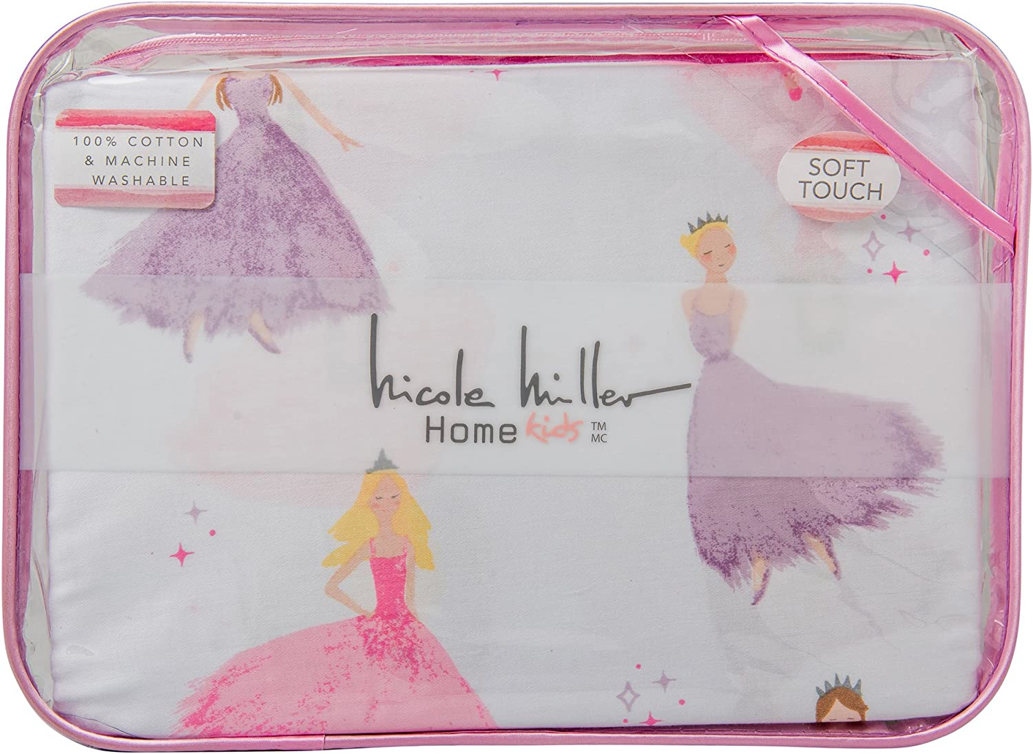 Nicole Miller Kids Pastel Princess 3 Piece Twin Single Bed Sheet Set 100% Easy Care and Durable Cotton Pink Purple on White
