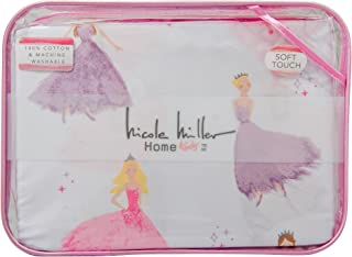Nicole Miller Kids Pastel Princess 4 Piece FULL Double Bed Sheet Set 100% Easy Care and Durable Cotton Pink Purple on White