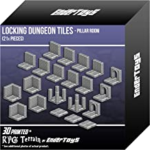 EnderToys Locking Dungeon Tiles - Pillar Room, Terrain Scenery Tabletop 28mm Miniatures Role Playing Game, 3D Printed Paintable