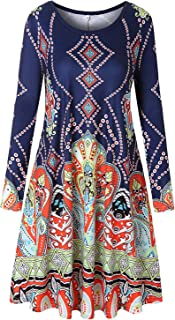 Womens Casual Round Neck Swing Floral Tunic Shirt Dress with Pockets