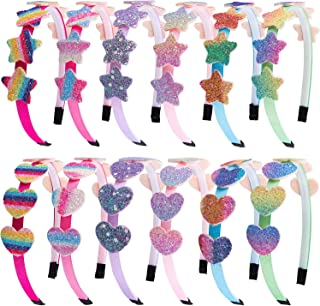 SIQUK 12 Pieces Glitter Headbands with Teeth Rainbow Heart Headband Colorful Star Plastic Headband for Girls