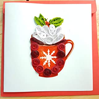 3D Christmas Greeting Cards, Handmade Quilling Card, Christmas Cup