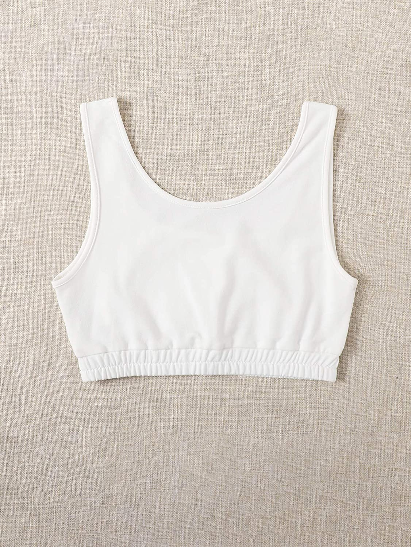 SweatyRocks Women's Casual Scoop Neck Cropped Tank Sleeveless Slim Fit Crop Top
