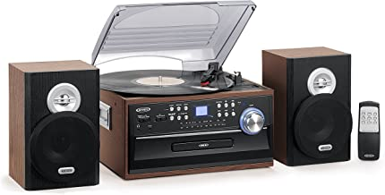 Jensen 3-Speed Turntable Music System Limited Edition JTA475W LCD Display with Front..