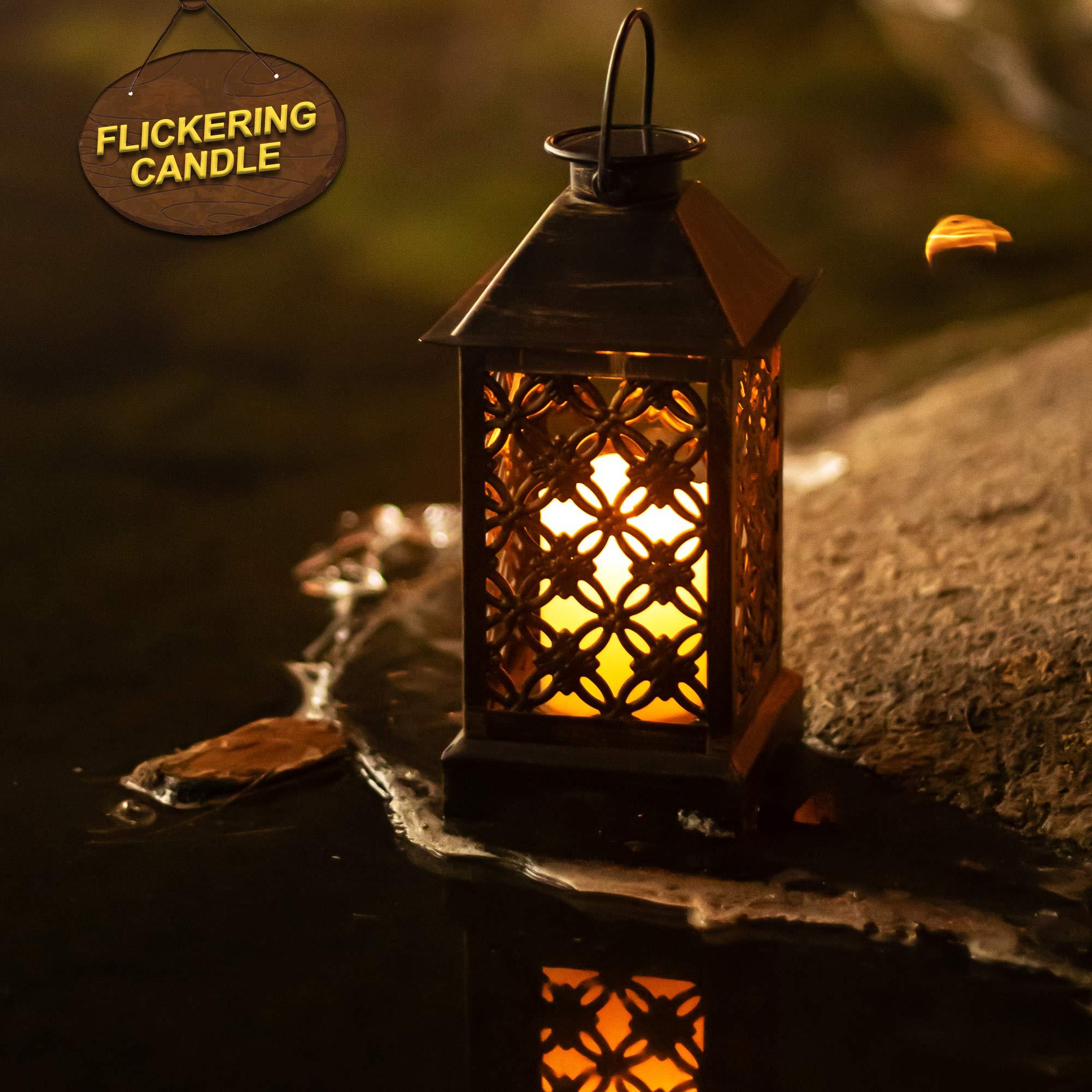 Lámpara solar exterior de bronce trébol de 4 hojas ᅳ Lámpara solar de jardín de metal