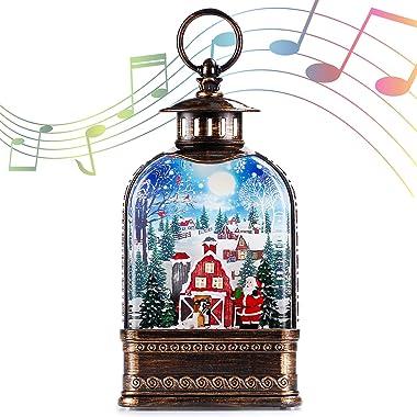 11 inch Christmas Snow Globe Water Lantern, Musical Glittering Xmas Water Globe Church Lantern with 6 Hour Timer(Santa Claus