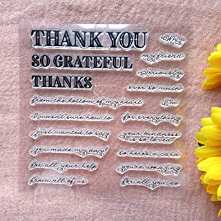 GAWEI Clear Stamps for Scrapbooking and Card Making Words Sayings Thank You So Grateful Transparent Stamps Silicone Stamps...