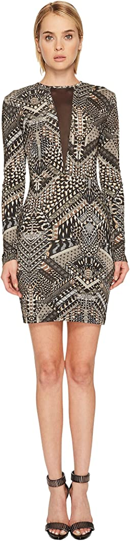 Just Cavalli - Jersey Geo Animal Long Sleeve Dress