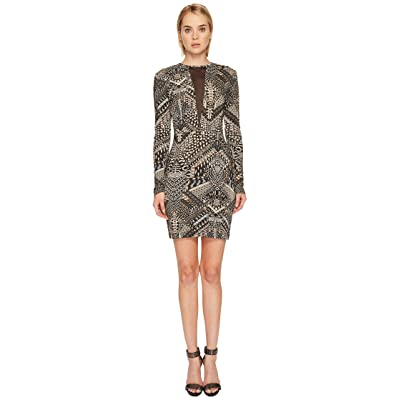 Just Cavalli Jersey Geo Animal Long Sleeve Dress (Camel) Women