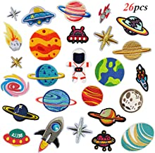 26pcs Space Planet Astronaut Iron on Patches Embroidered Motif Applique Decoration Sew On Patches Custom Patches for DIY J...