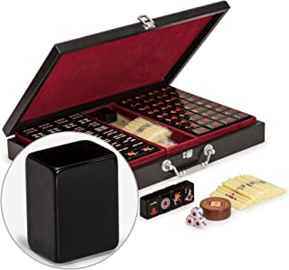 Yellow Mountain Imports Chinese Mahjong Set, Jet Set with Wooden Case - Set of Scoring Sticks, Dice & Wind Indicator - for Chinese Style Gameplay Only