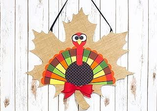 Turkey Burlap Door Décor - Thanksgiving Door Decorations - Turkey Decorations Home- Turkey Burlap Door Hanger-Fall Door Decor -Wreath