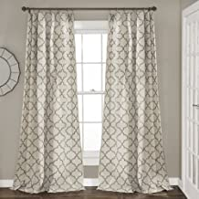 "Lush Decor, Gray Geo Trellis Curtains Room Darkening Window Panel Drapes Set for Living, Dining, Bedroom (Pair), 84"" x 54 84"