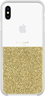 kate spade new york Gold Crystals Half Clear Case for iPhone Xs Max - Protective Phone Case with Crystal Gems
