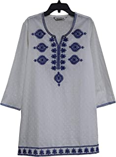 Ayurvastram Ivy Embroidered Block Printed Solid Pure Cotton Tunic, Top, Kurti, Shirt, Blouse