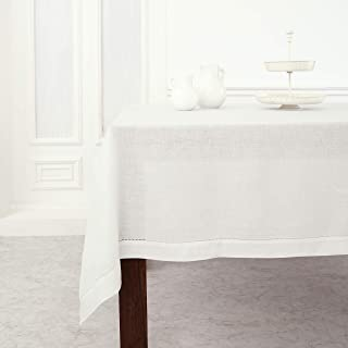 Solino Home Classic Hemstitch Linen Tablecloth - 60 x 120 Inch, White - 100% Pure Linen Rectangle Tablecloth for Dining, K...