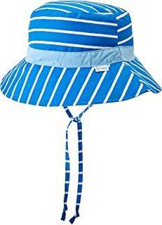 i Play. Baby Toddler Reversible Bucket Sun Protection Hat, Aqua Stripe, 2T/4T