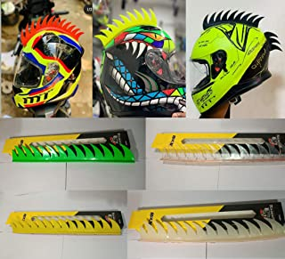 Helmet Accessory Cuttable Rubber Mohawk/Spikes for All Motorcycles Dirt Bike and Normal Helmets (Orange)