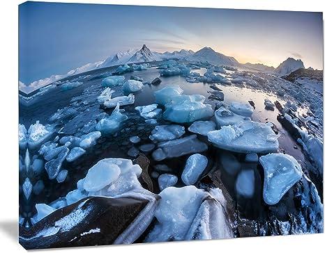 Design Art Unusual Arctic Ice Landscape Large Seashore Canvas Artwork Print 20x12 Amazon Co Uk Kitchen Home