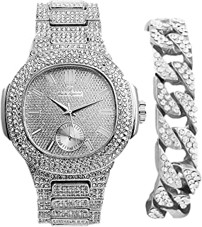 Bling-ed Out Cuban Bracelet with Oblong Iced Look Hip Hop Watch - 8475BC Cuban