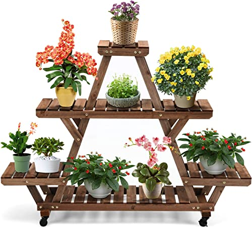 2021 Giantex Rolling Plant Stand, 4 Tiers Wood Flower Shelves lowest with Wheels, lowest 56 x 41inch Large Flower Pots Holder Display Shelf Storage Rack, Indoor Outdoor Display Rack for Patio Garden Balcony Living Room online sale