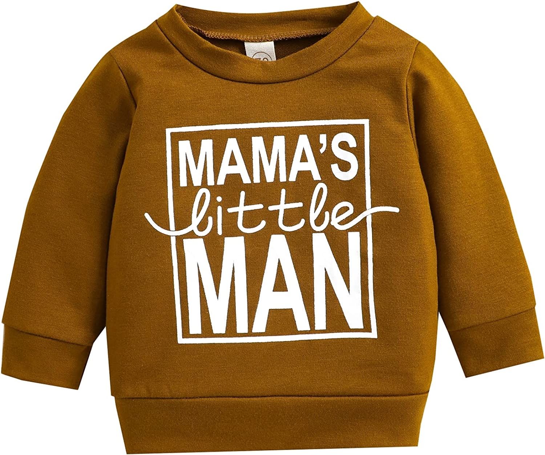 Toddler Baby Boys Sweatshirt MAMA LITTLE MAN Print Long Sleeve Pullovers Cotton Top