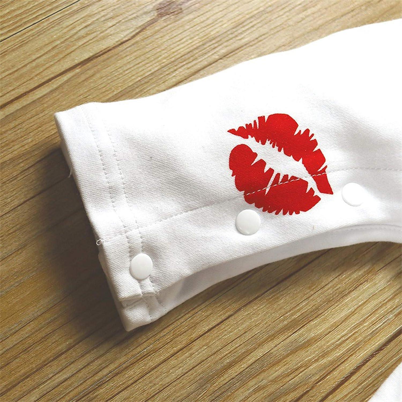 Valentines Day Valentinstag Kleinkind Baby Jungen M/ädchen Lange /Ärmel Solide Lippe Brief Drucken Strampler Overall A434