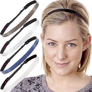 Hipsy Women's Adjustable NO Slip Skinny Tech Sport Headband Multi Packs