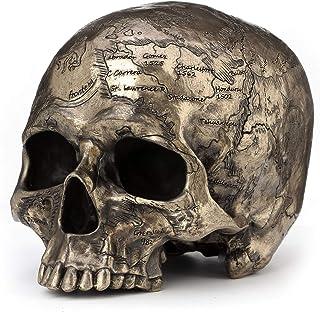 Veronese Design Bronze Finish Craniumography Old Treasure Map On Skull Statue