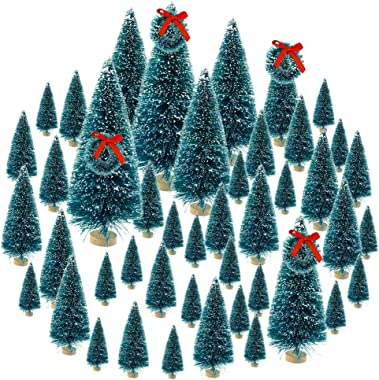 Topbuti 48 Pcs Bottle Brush Trees Mini Christmas Trees Artificial Xmas Trees Sisal Snow Frost Trees Diorama Tree with Wood Ba