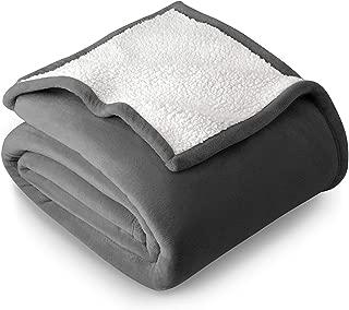 Bare Home Sherpa Fleece Blanket - Full/Queen - Fluffy & Soft Plush Bed Blanket - Hypoallergenic - Reversible - Lightweight (Full/Queen, Grey)