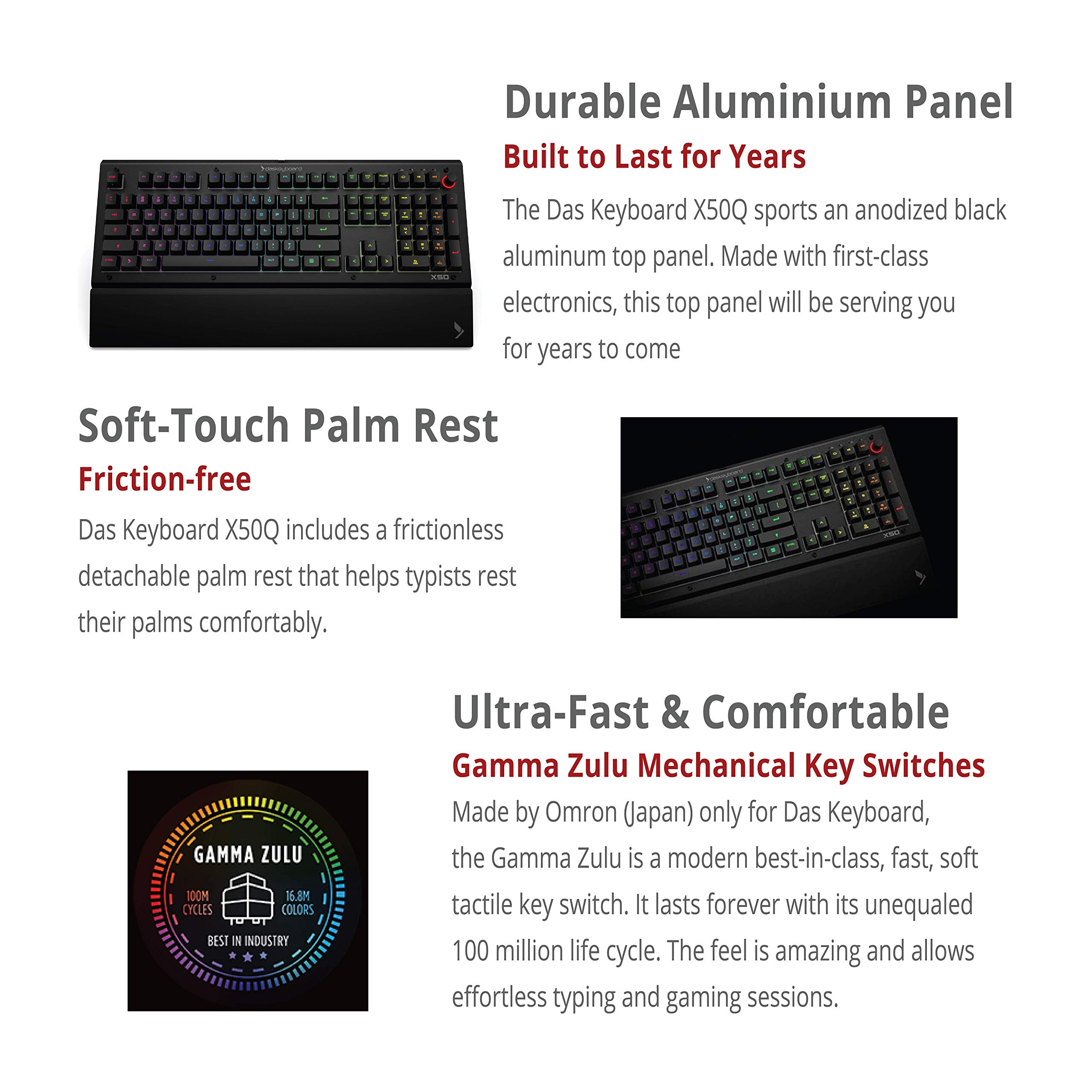 Amazon Com Das Keyboard X50q Smart Rgb Mechanical Keyboard For Work Gaming High Performance Soft Tactile Feedback Gamma Zulu Switches Pre Built Q Applets Fully Programmable Rgb