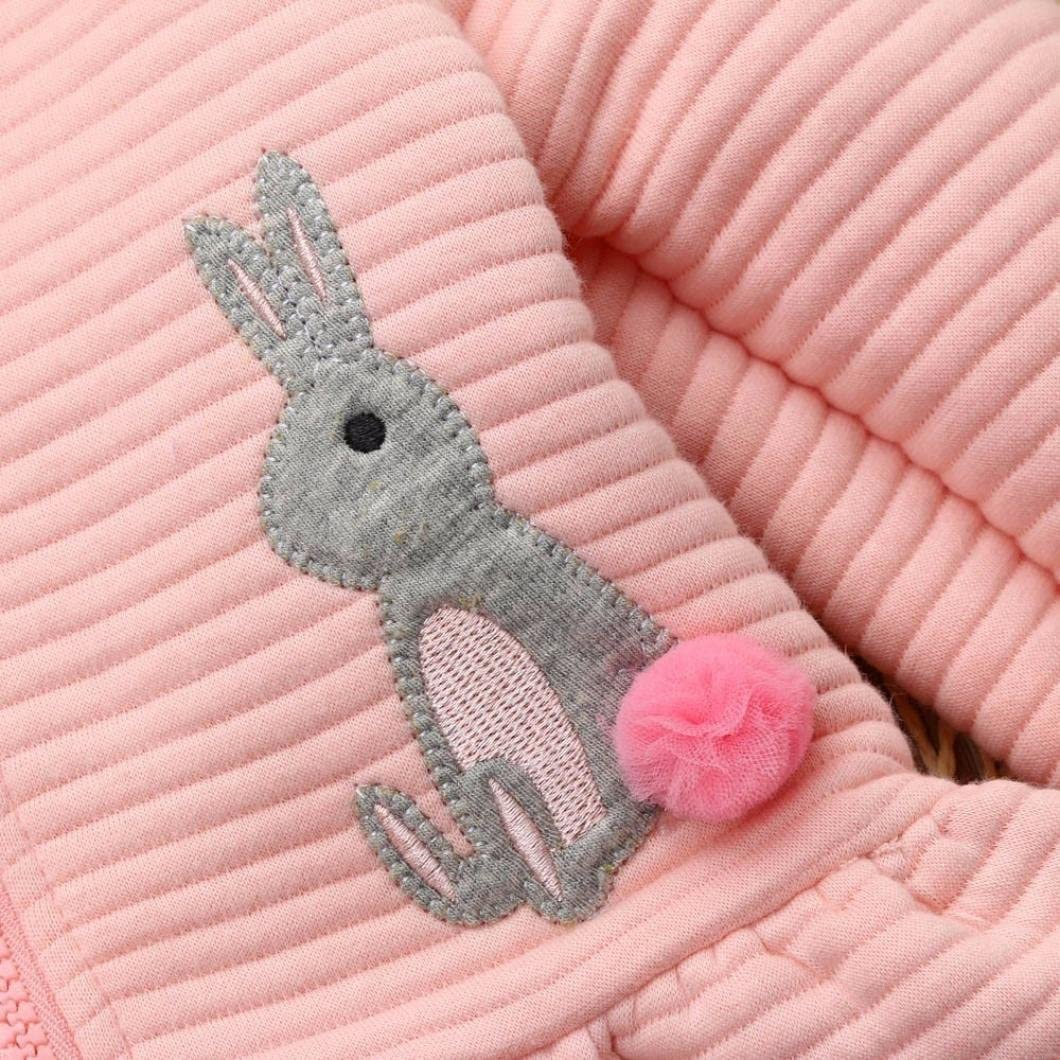 TM Baby Girls Cotton Rabbit Bunny Printed Hooded Coat Outwear Jacket Cardigan Tops Fineser