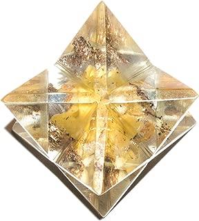 Crocon Citrine Gemstone Orgone Merkaba for Reiki Healing Chakra Balancing EMF Protection Crystal Energy Generator Meditation Spiritual Good Luck Money Home Decor Size: 2.5 cm