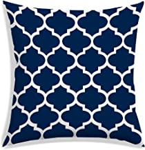 RADANYA Damask Printed Polyester Cushion Pillow Cover Square Throw Case - Navy Blue,18x18 Inch