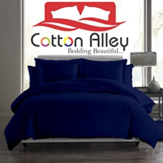 Cotton Alley 1000 Thread Count Luxurious 3 Piece Solid Duvet Cover Set with Zipper Closer & Corner Ties 100% Egyptian Cotton (1 Duvet Cover 2 Pillow Shams) (Olympic Queen,Navy Blue)