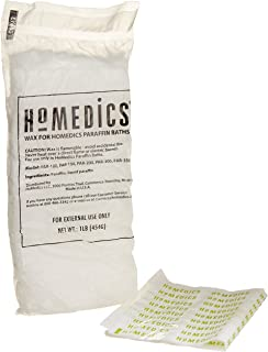 HoMedics, ParaSpa Paraffin Wax Refill | Two 1-Pound Packages - 100% Pure, Hypoallergenic Paraffin Wax | 20 Plastic Liners | Unscented, No Dyes | Moisturize & Soften Sensitive Skin