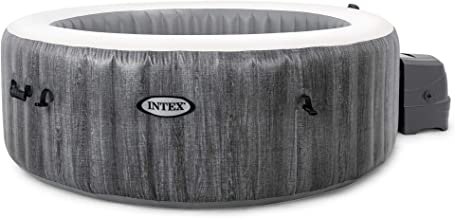 Intex PureSpa Greywood Deluxe 85in x 25in Outdoor Portable Inflatable 6 Person Round Hot Tub Spa with Bubble Jets, Hardwat...