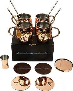 Ensemble de 14 pièces Moscow Mule par VinoYes - Coffret cadeau cocktail Noble - 4 tasses en cuivre, 4 sous-verres, 1 suppo...