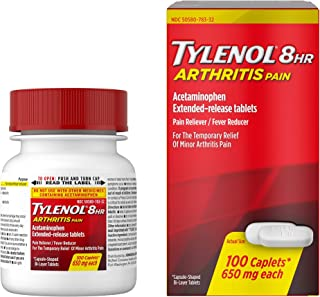 Tylenol 8 Hour Arthritis Pain Tablets with Acetaminophen for Joint Pain, 100 ct