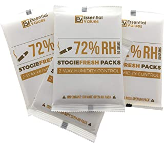 StogieFresh 72-Percent RH Humidity Packs (4 Pack at 60 Grams), Best 2-Way Control That Keeps Cigars Fresher for Longer by Essential Values