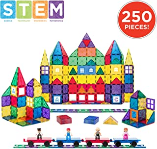 Best Choice Products 250-Piece 3D Magnetic Tile Play Set w/ 4 Figures and Railroad Accessories