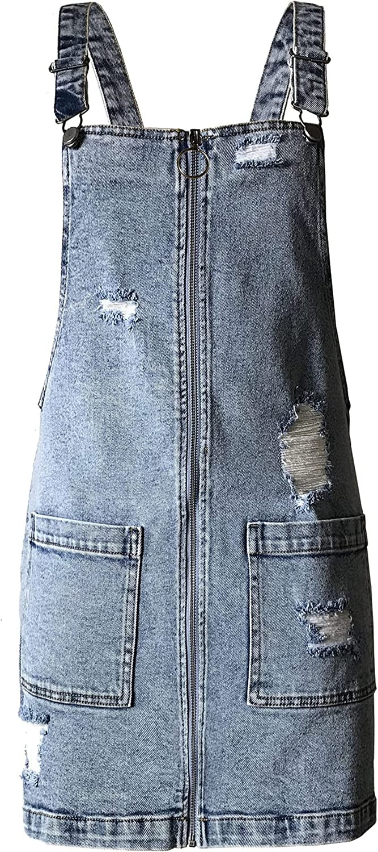 Tinseltown Juniors Ripped Denim depot Wash Overalls Max 56% OFF Dress Light