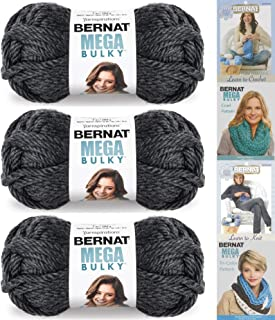 Bernat Mega Bulky, 7.0 Ounce, 3 Pack Bundle, Jumbo #7 Acrylic (Dark Grey Heather)