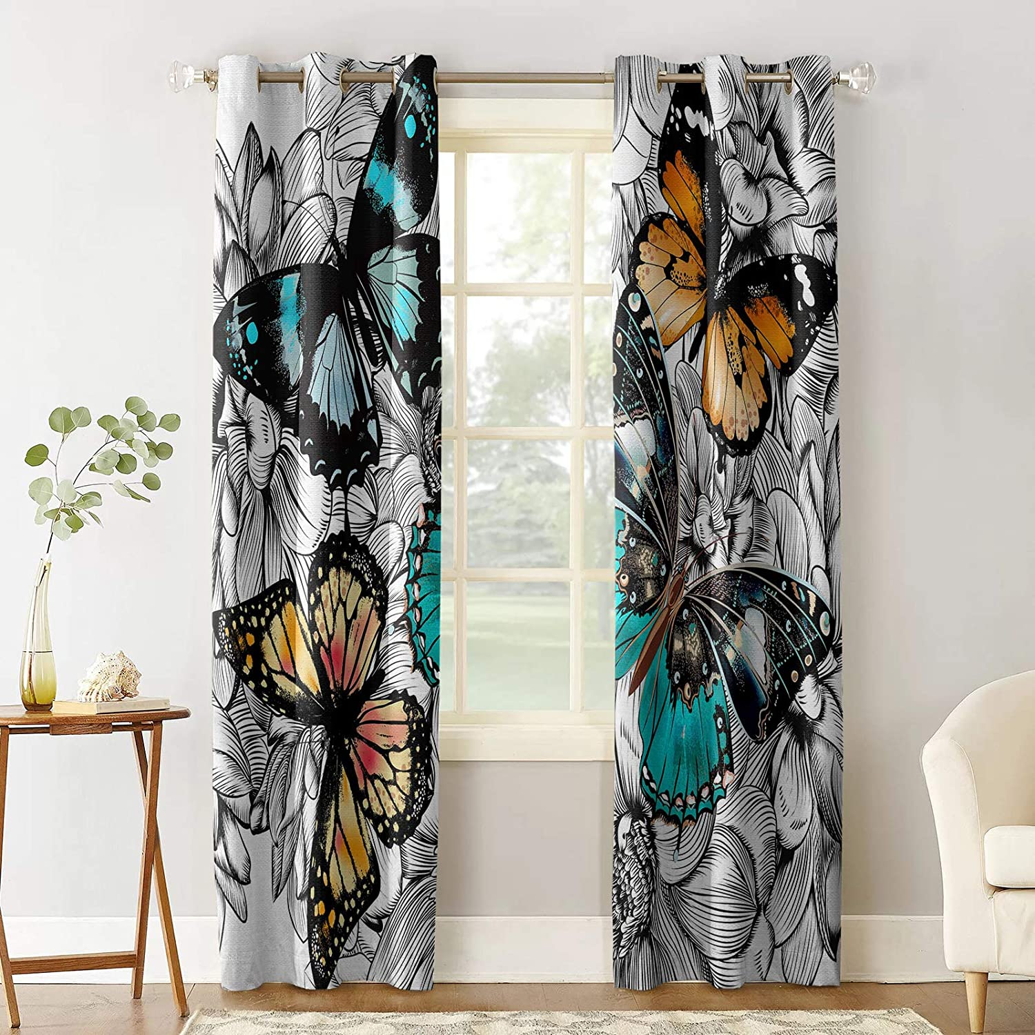 Prime Leader Blackout Curtain for Bedroom Japan's largest assortment Flowe Color Butterfly Max 90% OFF